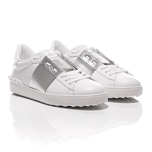 6144766968c Valentino Open Silver Striped Leather Sneakers: Amazon.co.uk: Shoes ...
