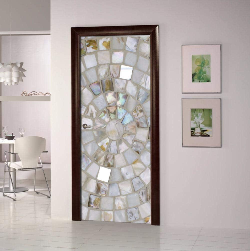 LOVEJJ Pegatinas de puerta en 3D Cristal Puerta de madera DIY Papel autoadhesivo Mural etiqueta Papel tapiz para el dormitorio calcomanía de la puerta de la casa 77x200 cm