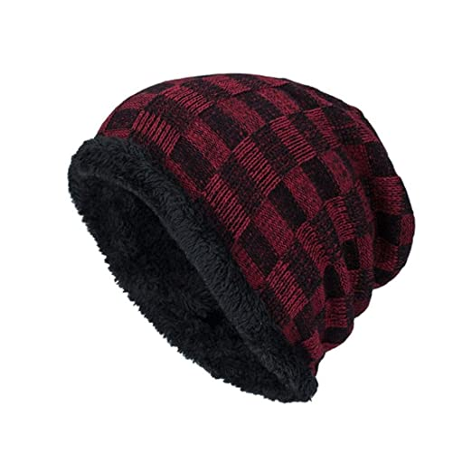 SUKEQ Men Fleece Lined Plaid Slouchy Knit Skull Hat Outdoor Ski Beanie Caps  (Red) a3bd090d534