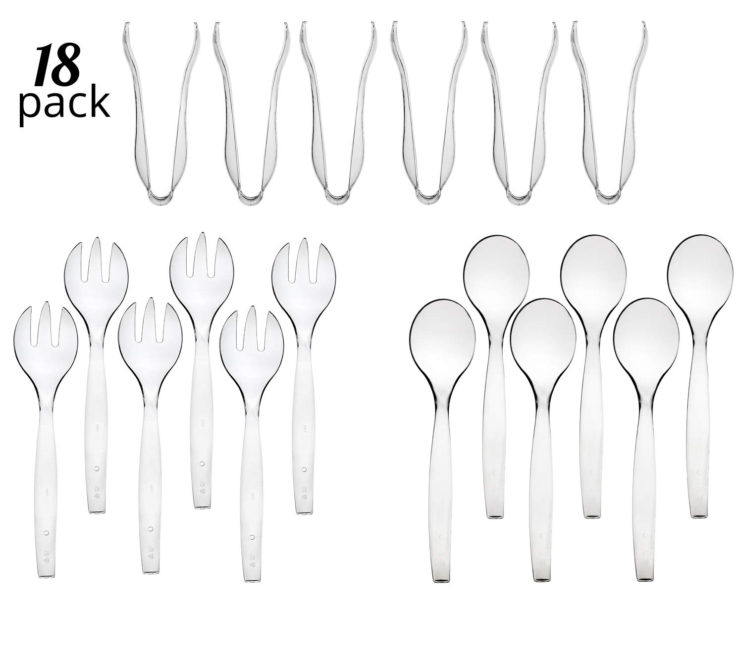 Disposable Serving Utensils, Plastic Crystal Clear Serving 10'' Spoons 10'' Forks & 6'' Tongs 6 Of Each, Pack of 18. by Pro Dispose
