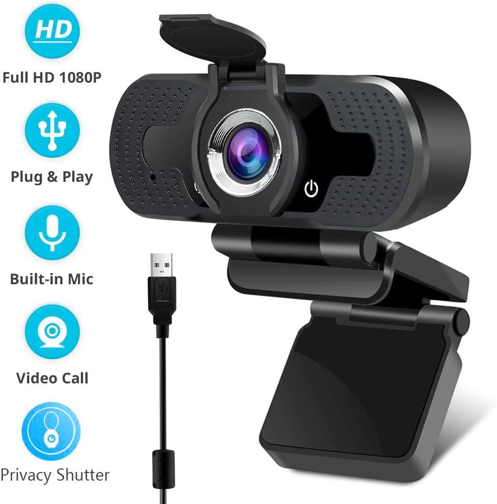 EasyULT Webcam 1080P Full HD, con Cubierta de Privacidad, PC Cámara Web de Alta Definiciócon Micrófono Reductor de Ruido y Corrección de iluminación Automática USB Plug and Play, para PC, Portátil