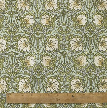 1 Metre Of Licensed William Morris Pimpernel Green 100 Heavy Weight Cotton Floral Fabric