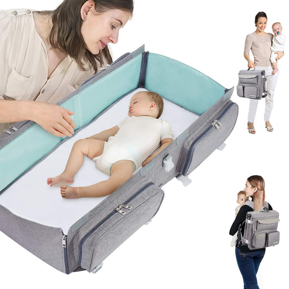 Forstart 2 in 1 Baby Travel Bed|Diaper Bag|Baby Changing Station|Foldable Baby Bed|8 Pockets|Baby Bag After Folded,It Can Be Used As A Backpack,Portable and Hung on A Stroller Gray by Forstart