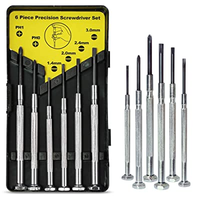 6PCS Mini Screwdriver Set with Case, Precision Screwdriver Kit with 6 Different Size Flathead and Phillips Screwdrivers, Perfect mini Screwdriver Bits for Jewelry, Watch, Eyeglass Repair.: Home Improvement