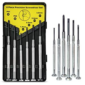 6PCS Mini Screwdriver Set with Case, Precision Screwdriver Kit with 6 Different Size Flathead and Phillips Screwdrivers, Perfect mini Screwdriver Bits for Jewelry, Watch, Eyeglass Repair.