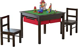 UTEX 2-in-1 Kids Multi Activity Table and 2 Chairs Set with Storage (Espresso)