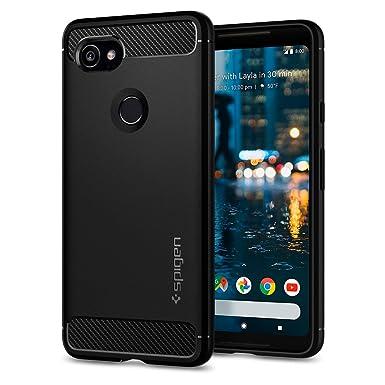 competitive price d037f ba0b9 Spigen [Rugged Armor] [Black] Case for Google Pixel 2 XL, Resilient Shock  Absorption Original Carbon Fiber Design Phone Cover for Google Pixel 2 XL  ...