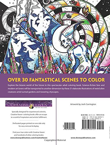 Amazon Creative Haven Futuristic Worlds Coloring Book Adult 0800759808922 Josh Carrington Books
