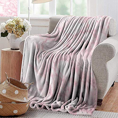 PearlRolan Summer Blanket,Marble,Soft Granite Texture Old Fashion Space Stone Abstract Macro Scratches Girls Image,Light Pink,300GSM, Super Soft and Warm, Durable 60