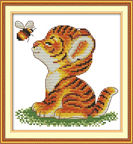 Full Range of Embroidery Starter Kits Stamped Cross Stitch Kits Beginners for DIY Embroidery (Multiple Pattern Designs) - Tiger and bee