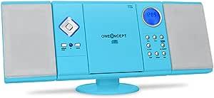 oneConcept V-12 - Cadena estéreo, minicadena, para niños, Reproductor de CD con MP3, FM/Am, USB con MP3, Ranura SD, AUX, Mando, Pantalla LCD, Despertador, Reloj, Montaje en Pared, Azul