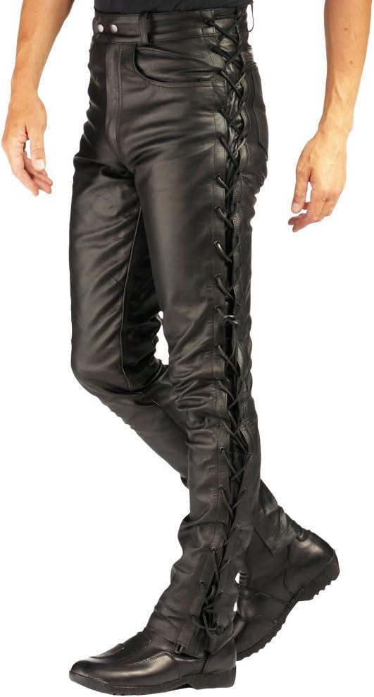 Roleff Pantalón de Cuero con Cordones Laterales Racewear, Negro, 38