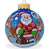 4'' Santa and Reindeer Animal Glass Ball Christmas Santa Ornament