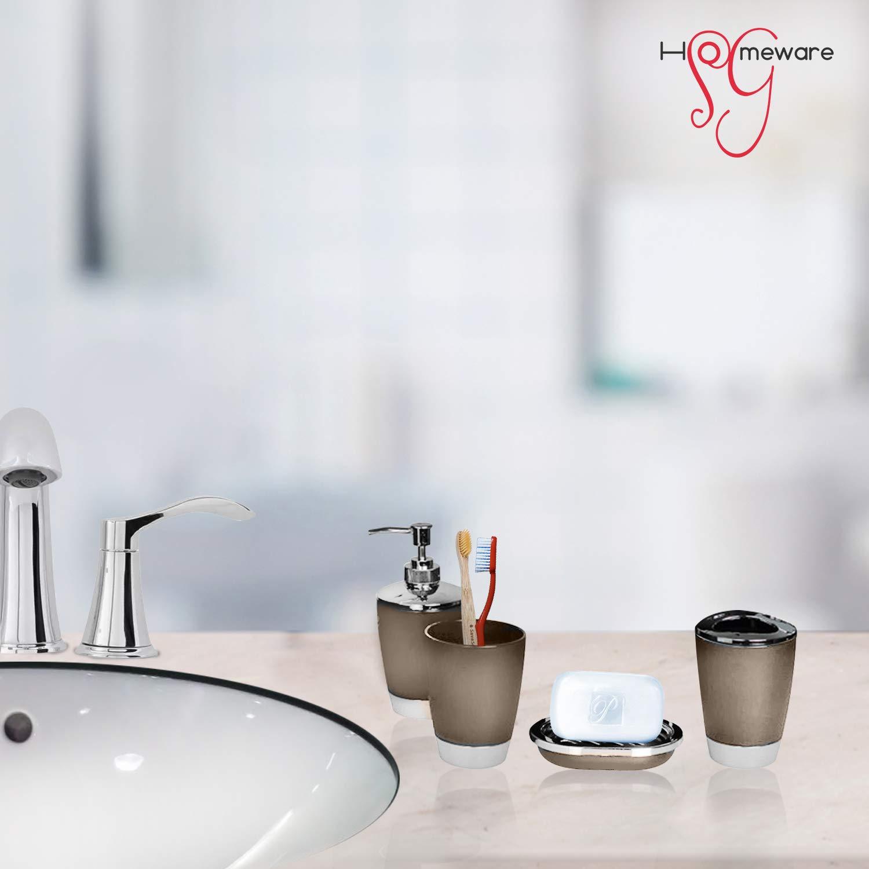 White Toilet Brush Tumbler Bin Toothbrush Holder Soap Tray /& Dispenser SG Homeware 6 Piece Elite Toilet /& Bathroom Accessory Set