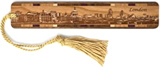 product image for Downtown London Cityscape - Engraved Wooden Bookmark with Tassel