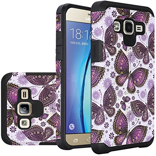 HR Wireless Cell Phone Case for Samsung Galaxy On5 - Gold Violet Butterfly Flower Polka Dots Mandala