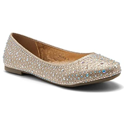 Herstyle Women's Vicky Round Toe Jeweled Embellishments Rhinestone Ballet Flats Shoes | Flats