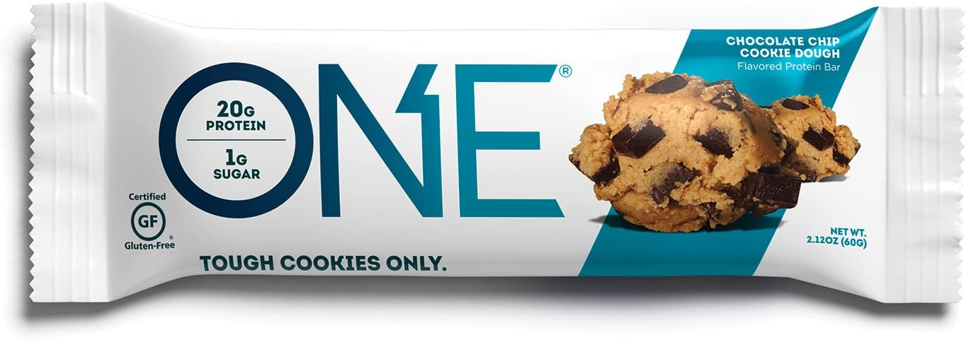 ONE Protein Bars, Chocolate Chip Cookie Dough, Gluten Free Protein Bars with 20g Protein and only 1g Sugar, Guilt-Free Snacking for High Protein Diets, 2.12 oz (12 Pack)