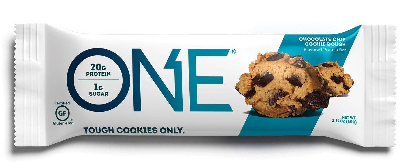 ONE Protein Bar, Chocolate Chip Cookie Dough, 2.12 oz. (12 Pack), Gluten-Free Protein Bar with High Protein (20g) and Low Sugar (1g), Guilt Free Snacking for Healthy Diets