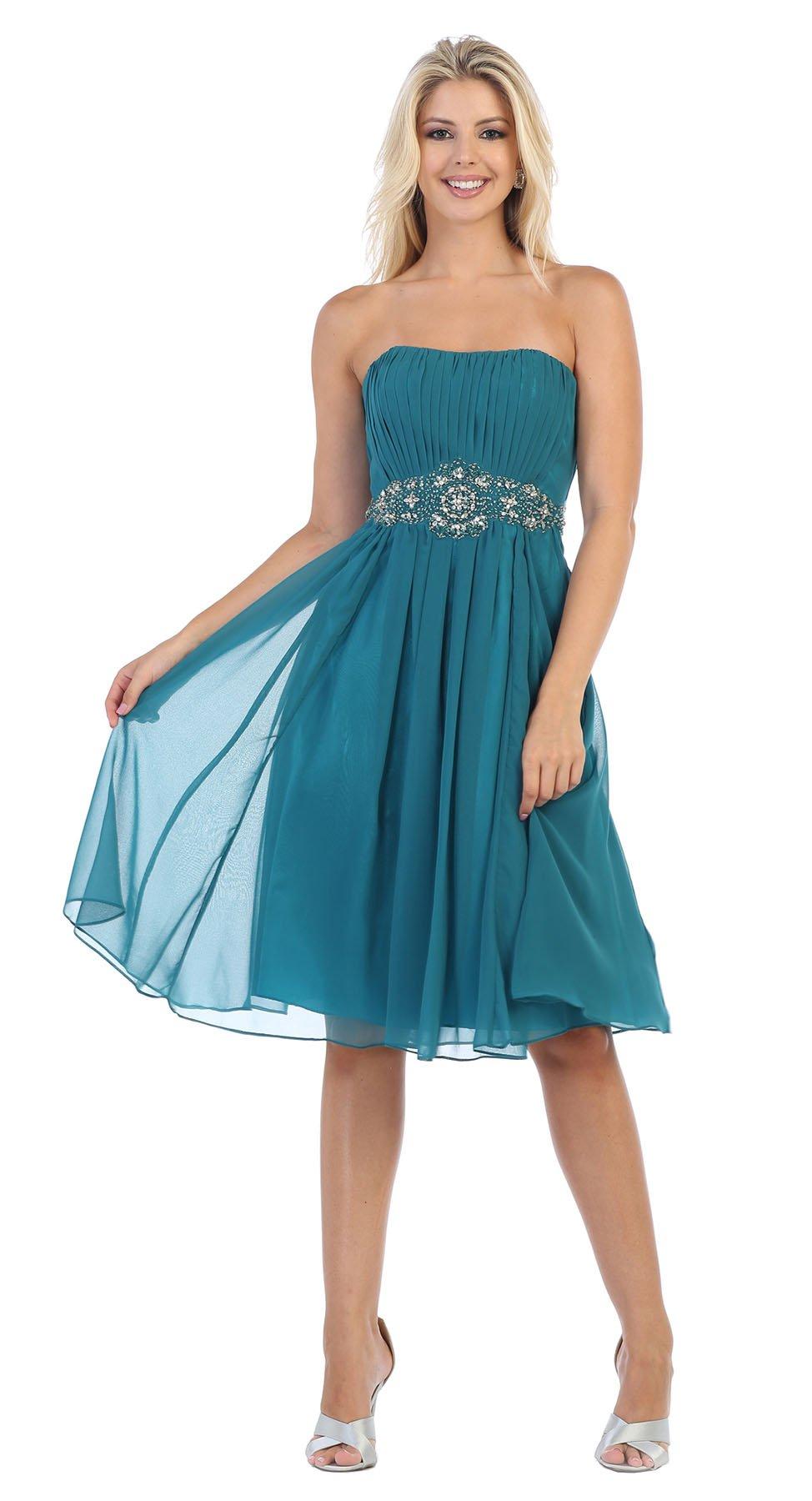 e268969880d7 May Queen MQ711 Bridesmaids Strapless Short Designer Dress (18, Teal)