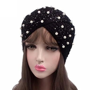 Amazon Ladies Pearl Cap Bead Petals Comfortable Knitting Hat