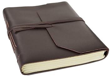 ec7f3bf146e6 Life Arts Indra Carnet de notes artisanal en cuir marron, Pages 100 % coton,