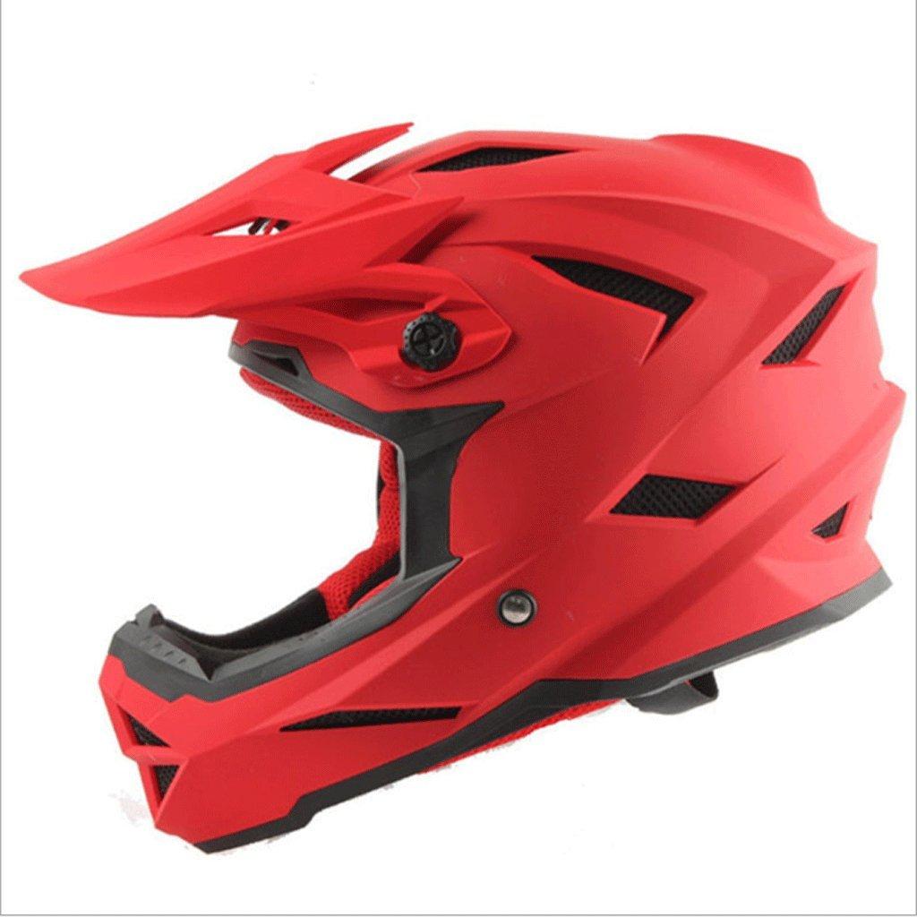 DGF ヘルメットABSモトクロスマウンテンバイク機関車ヘルメットヘルメットレーシングヘルメット男性と女性フルヘルメット (色 : Red, サイズ さいず : M) B07FN33KRD Medium|Red Red Medium