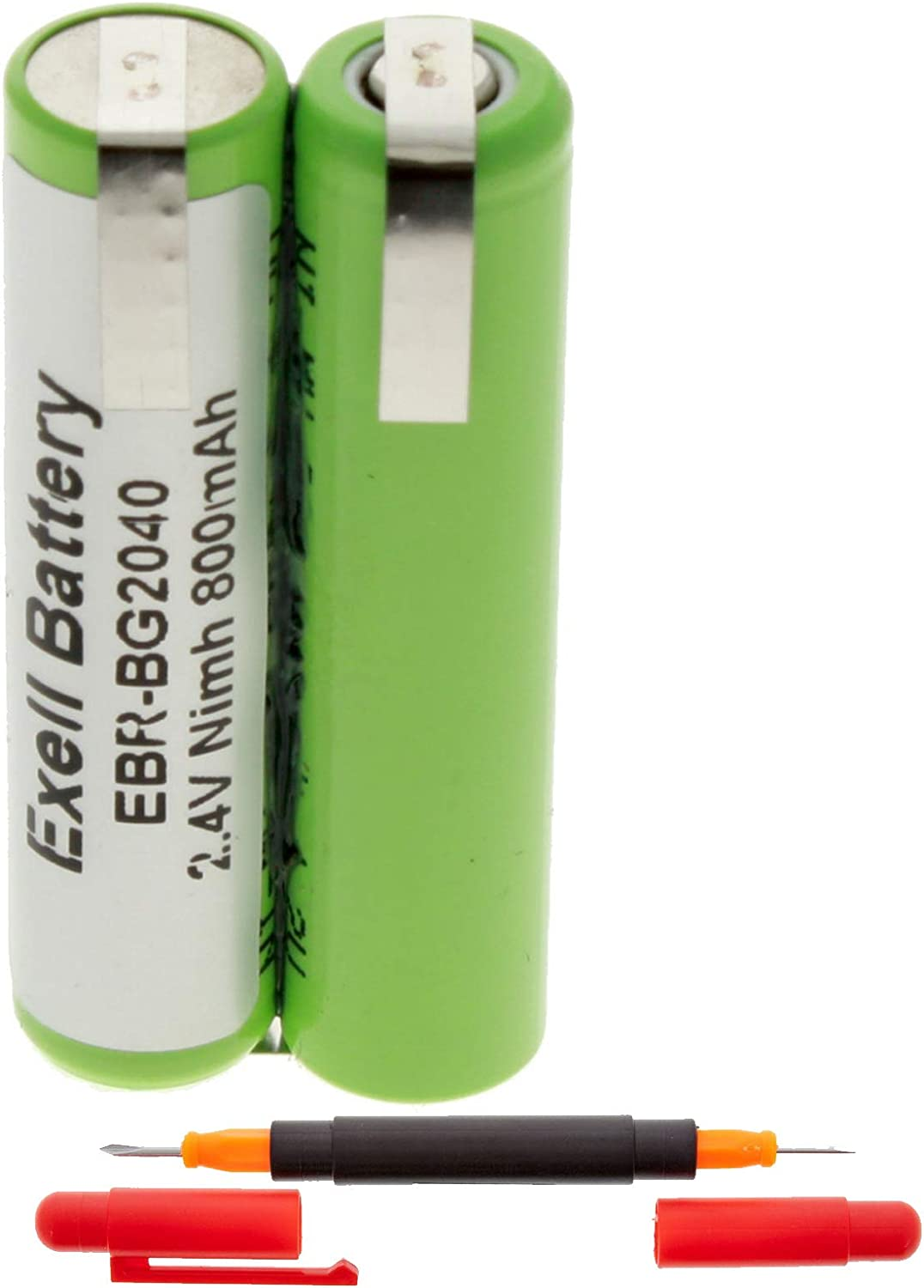 Exell 2.4-Volt Nickel Metal Hydride Razor Battery, EBR-BG2040, 800 mAh, Batteries for Electric Shavers