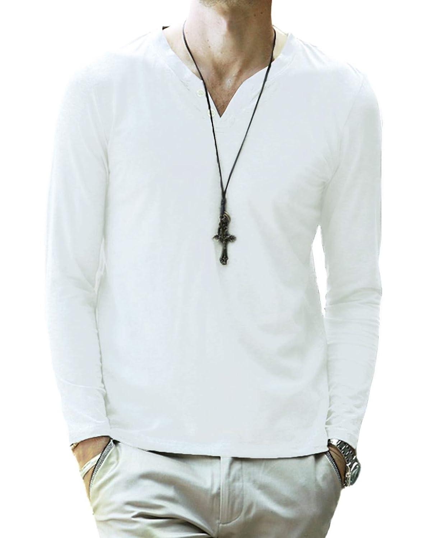 KUYIGO Men's Casual Slim Fit Long Sleeve Henley T-Shirts Cotton Shirts