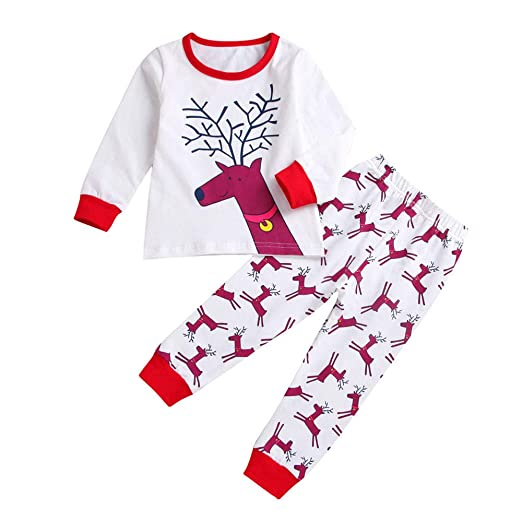 baby unisex christmas pajamaskehome 2pc infant baby toddler boy girl elk print cotton xmas
