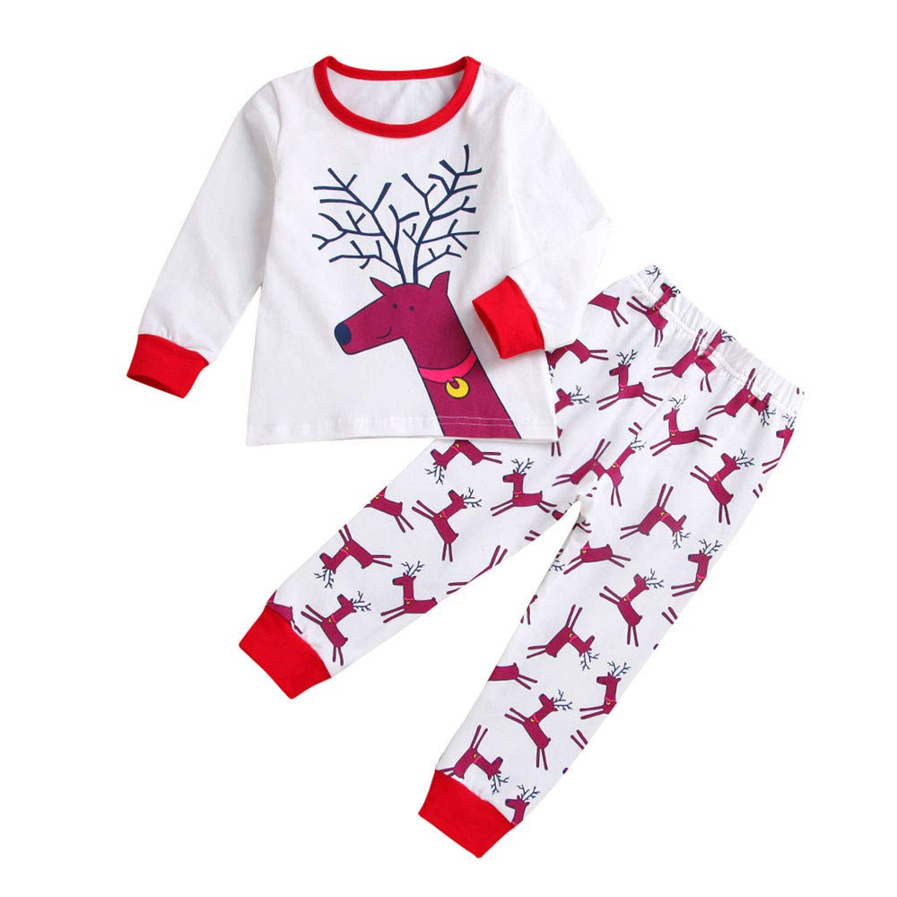 Christmas Toddler Clothes Set for 1-4 Years Old, Vovotrade Newborn Baby Girls Boys Reindeer Print Top+Pants Outfit Xmas Outfits Set