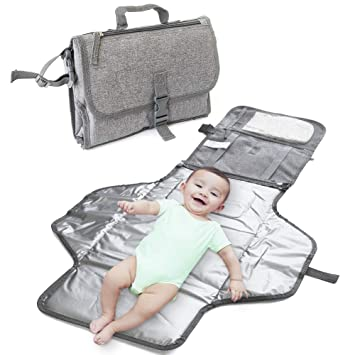 Grey Simple Portable Changing Pad,Lightweight Travel Station Kit for Baby Diapering,Diaper Changing Pad,Diaper Clutch,Diaper Pouch,Diaper Mat,Travel Changing Mat IsaMaNNeR Changing Pad