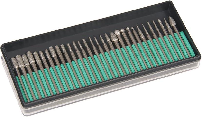 Silverline 722878 - Fresas diamantadas para herramienta rotativa, 30 pzas (Vástago 3,17 mm)