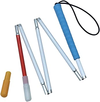 47.2 pulgada 120cm 4 Secciones Aluminio Baston Blanco para Ciegos y Baja Vision Plegable