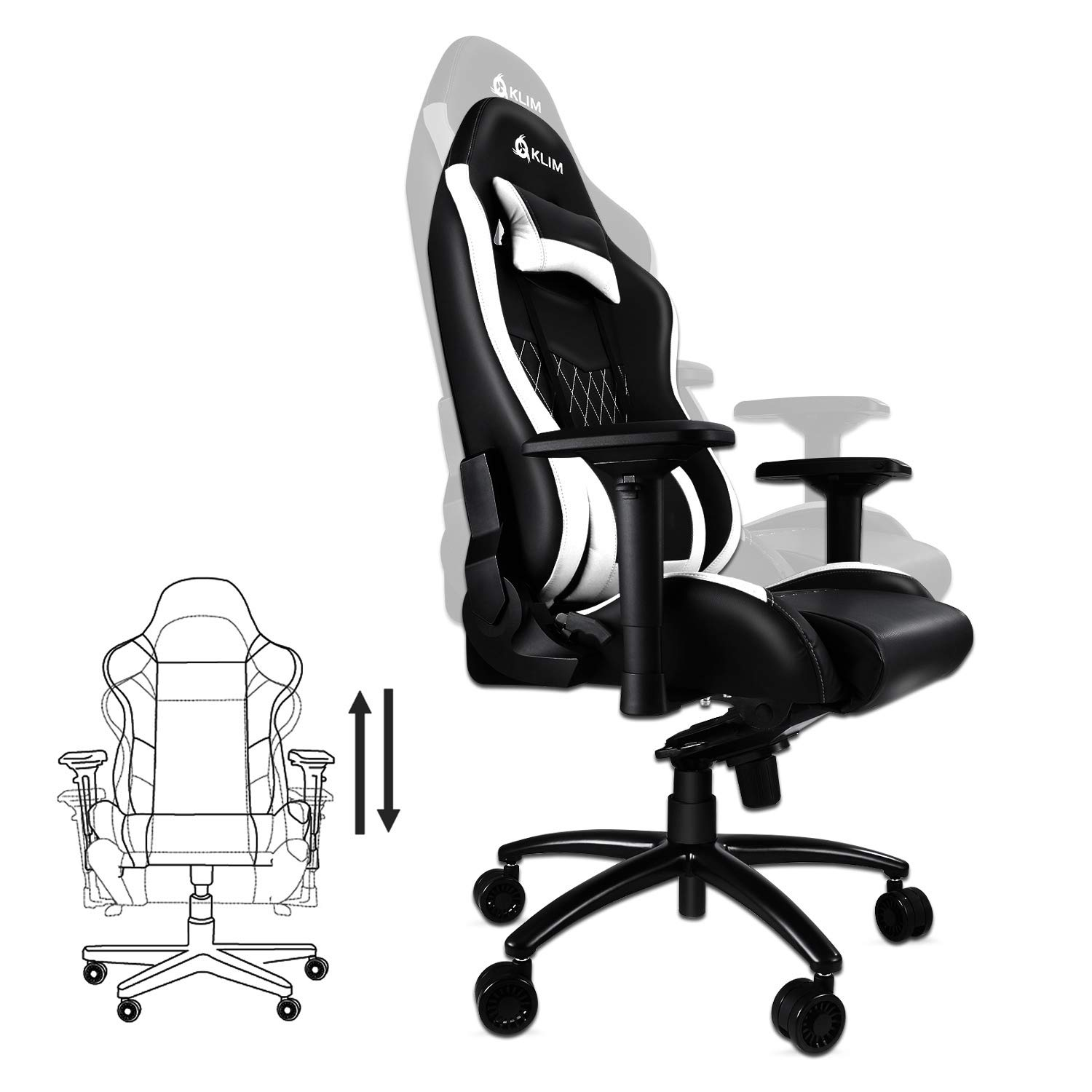 Amazon.com: Klim Esports Gaming Chair Executive Ergonomic Racing Computer Chair - Back & Head Support - New - Adjustable Armrest - Desk & Office Recliner ...