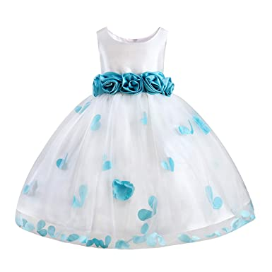 43830f838f8be Girls Tutu Bow Dress Petals Princess Flower Dress with 3D Roses for  Birthday Wedding Party (