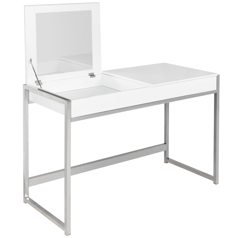 Miadomodo Toletta Trucco con specchiera, tavolino Bianco con Specchio, Pieghevole, FF Europe