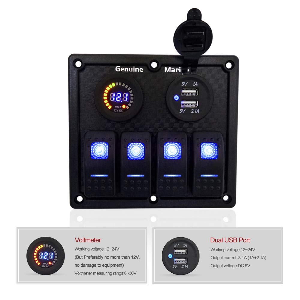 Digital Voltmeter Display Red//Blue//Orange Light DC 12V Socket Dual USB Charger Port 4//6//8 Gang 12V//24V Contura Rocker Switch Panel for RV Marine Car Vehicles Truck Boat Waterproof w//no 15A Fuse