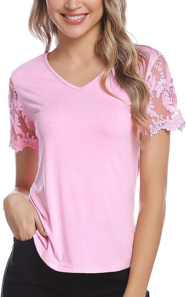 Aibrou Maglia Donna T-Shirt V-Collo Cotone Canotta Casual Top Maglietta per Estate