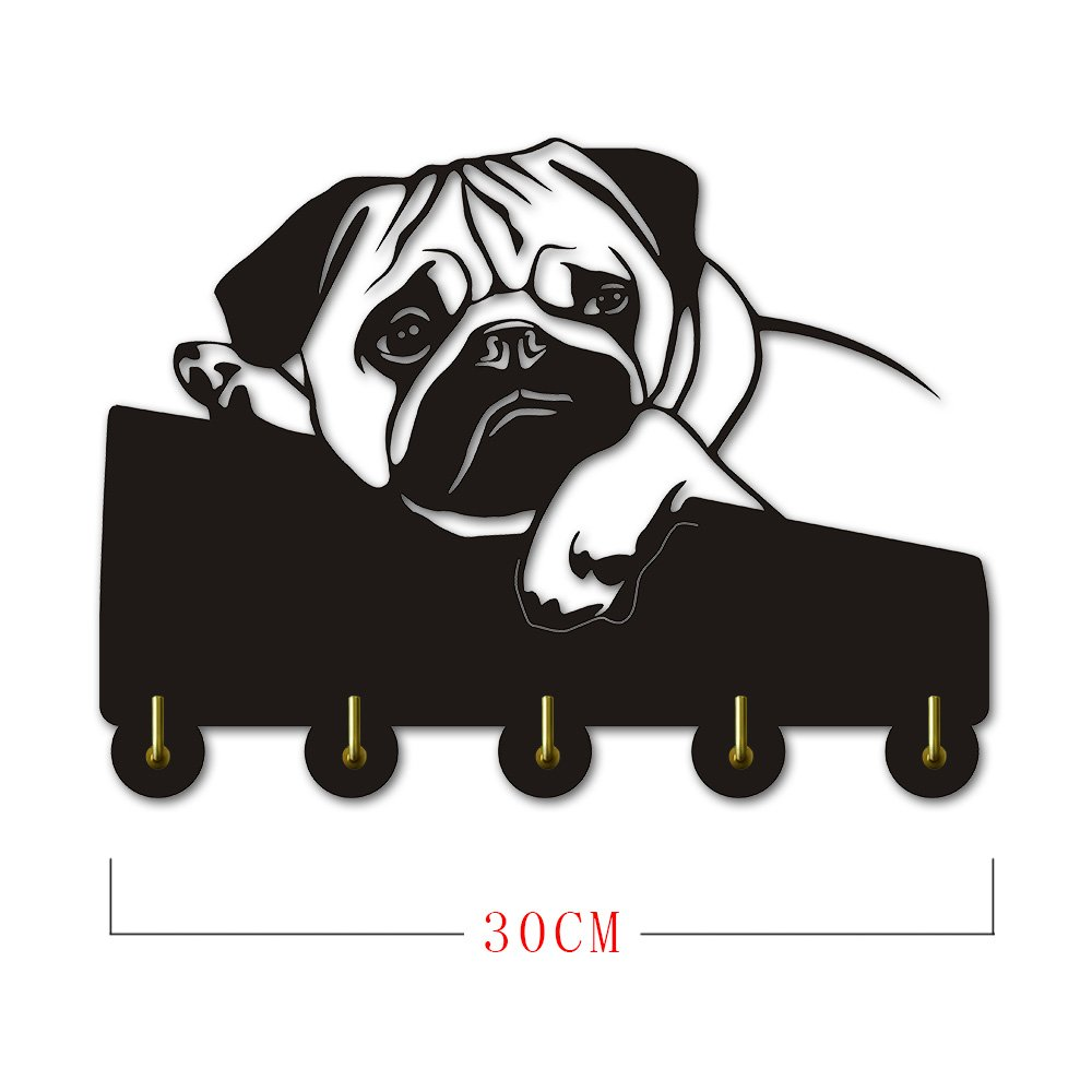 Tummy Frown English Bulldog Shape Design Personalised Creative Home Decor Art Wall Hook Hanger Clothes Coat Robe Hooks Bathroom Door Towel Hooks