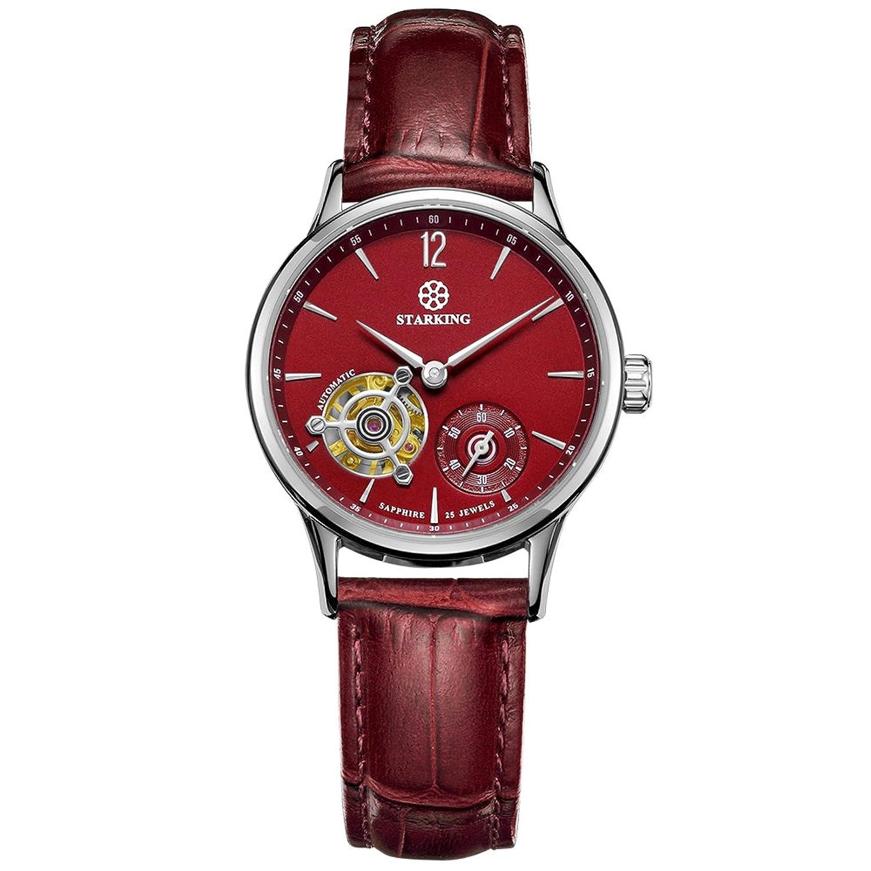 Starking Damen al0213sl55 Automatische Mechanische Skelett Armbanduhr mit Rot Geneva Leder Band