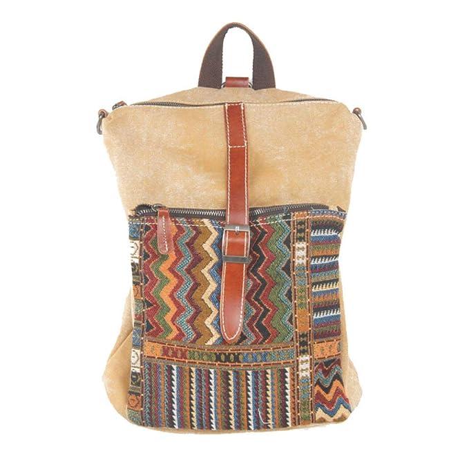 7592caa11 Mochila De Lona Retro Viento étnico De Las Mujeres Ocio Literario Harajuku  Commuter Bolsa De Viaje