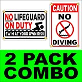 NO LIFEGUARD ON DUTY~NO DIVING Combo Pack 8'' x12'' Coroplast Signs (2 Signs)