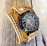 Steampunk Leather Watch Cuff, Skeleton Men's watch, Leather Wrist Watch, Leather Cuff, Bracelet Watch, Leather Cuff, Mechanical Watch,