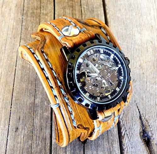 Steampunk Leather Watch Cuff, Skeleton Men's watch, Leather Wrist Watch, Leather Cuff, Bracelet Watch, Leather Cuff, Mechanical Watch, by Cuckoo Nest Art Studio