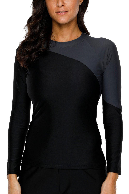 CharmLeaks Womens Long Sleeve UPF Shirt UPF 50 Rash Guard Tops Swimsuit Swim uv Shirt