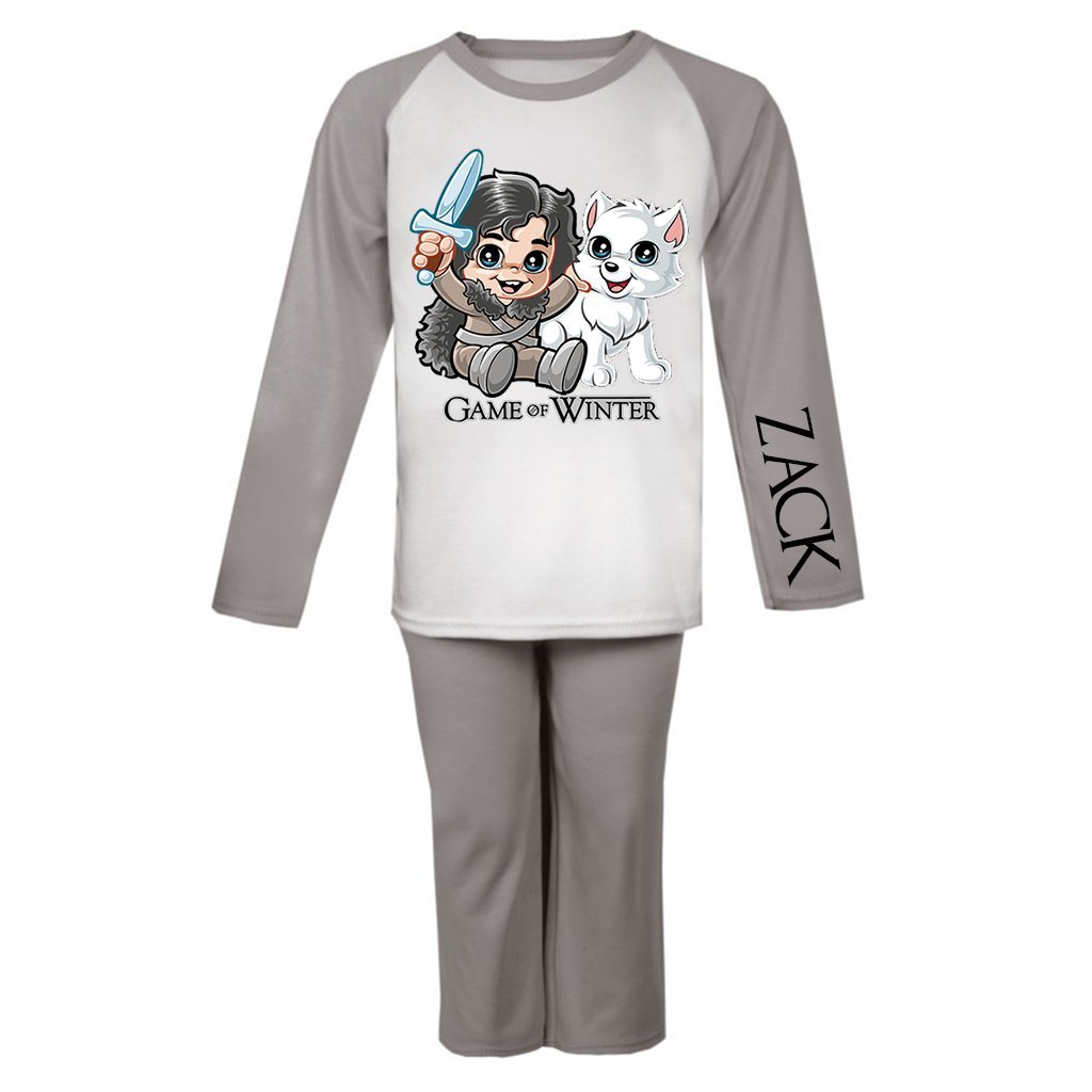 Personalised Game of Winter Children's Pyjama Set Kids PJ's Game of Thrones Gifts Birthday