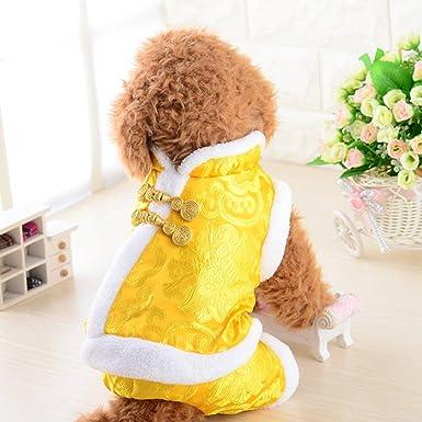 Ropa de perro, satén de seda Tang traje más acolchado boda cuatro pies ropa Navidad