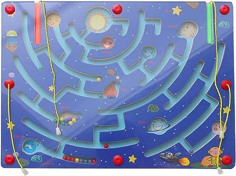 Toyvian Madera Juego de Rompecabezas Laberinto magnético Juego de Tablero de Juego Interactivo Entre Padres e Hijos Juguete Educativo temprano para niños - Patrón de Nueve Planetas: Amazon.es: Juguetes y juegos