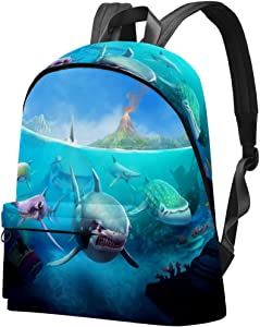 Hungry Shark World Prints Backpack Teens Student Bookbag Lightweight Travel Backpack for Girls